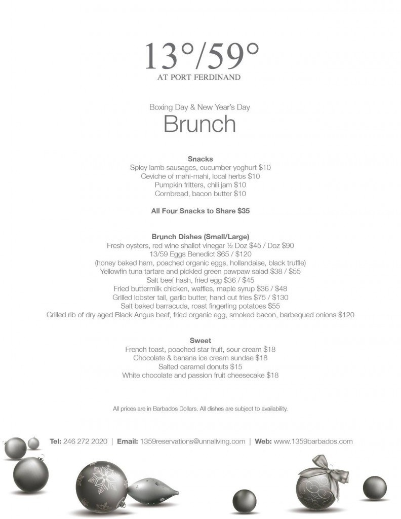 Boxing Day and New Year's Day Brunch